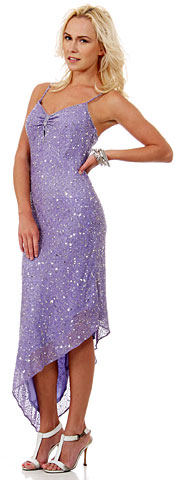 Spaghetti Straps High Low Formal Sequin Formal Sequin Formal Dress. 9215.
