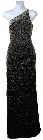 Single Shoulder Beaded Formal Dress. 9219.