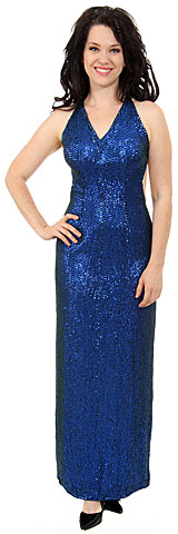 Sequined Formal Dress with Open back & criss-cross straps. 9220.