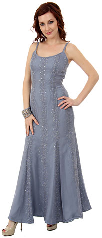 Flared Sequined Formal Dress with Spaghetti Straps. 9227.