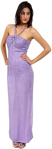 V Straps Sequined Formal Evening Dress. 9231.