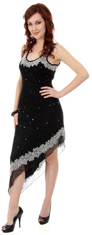 U-Neck Beaded Party Party Dress with Asymmetric Hem . 9262.