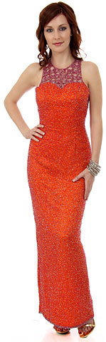 Sleeveless Formal Evening Dress with Exquisite Mesh design. 9268.
