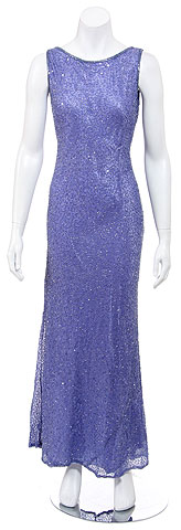 Pull over Hand Beaded Long Formal Dress with Open Back. 9291.
