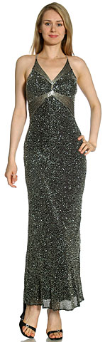V-Neck Fully Beaded Crossed Back Formal Dress. 9311.