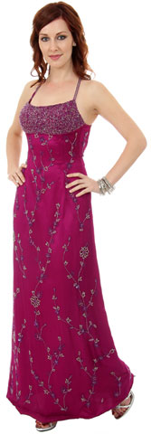 A-line Spaghetti Straps Floral Beaded Prom Dress. 9318.