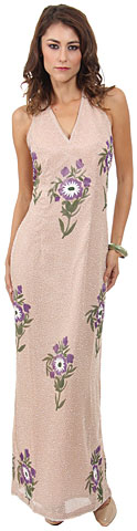 Halter Neck Long Formal Cocktail Dress with Painted Flowers. 9351.