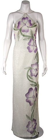 Halter Neck Formal Dress with Painted Floral pattern. 9378.