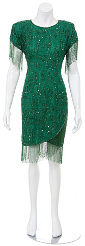 Short Sequined Dress with Hanging Beads. 9805.