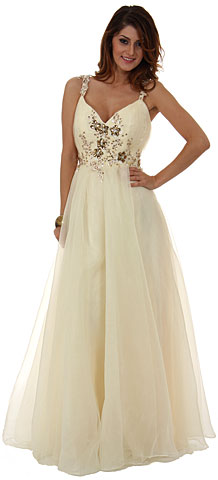 A-Line Organza Long Formal Prom Dress with Beading . a199.
