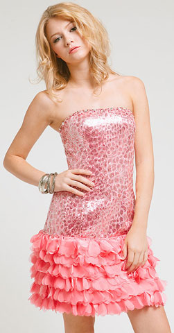 Strapless Metallic Bodice Short Dress with Tiered Hem . a214.