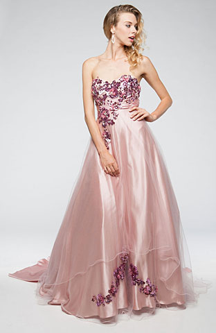 Strapless Floral Pattern Satin & Mesh Prom Ball Gown. a223.
