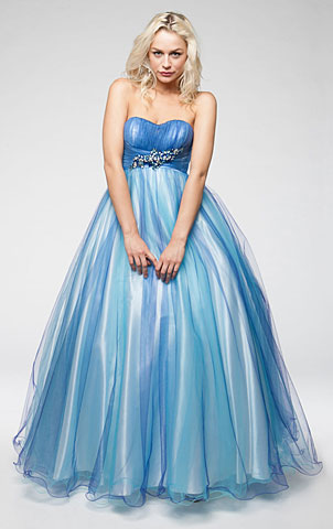 Strapless Mesh Puffy Formal Prom Gown with Beaded Waist. a230.