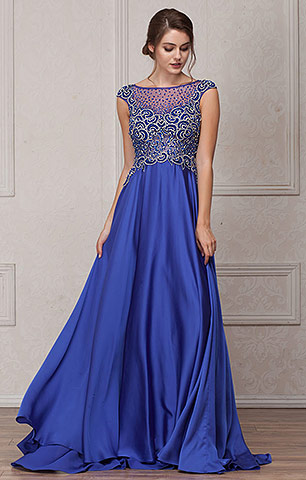 Embellished Sheer Top Long Prom Pageant Satin Dress. a238.