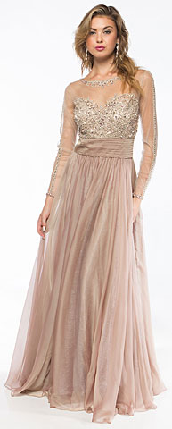 Full Sleeves Mesh Beaded Bodice Long Prom Pageant Dress