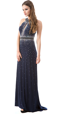 High Neck Sparkling Rhinestones Long Prom Pageant Dress. a250.