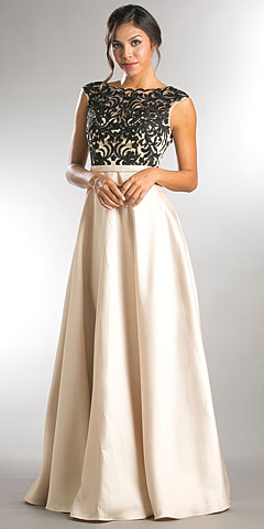 Boat Neck Mesh Embroidered Top Long Prom Dress. a257.