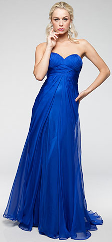 Strapless Double Layered Chiffon Formal Prom Dress. a304t.
