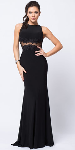 Lace Accent Sheer Waist Long Formal Evening Jersey Dress. a363.