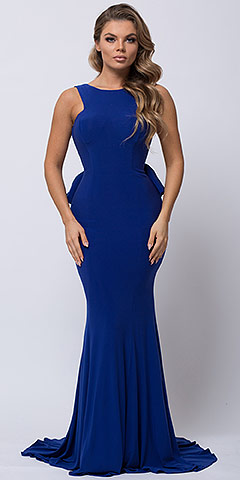 Ruffled Back Fit-n-Flare Long Formal Evening Jersey Dress. a364.