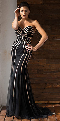 Strapless Geometric Design Tulle Long Formal Evening Dress. a365.
