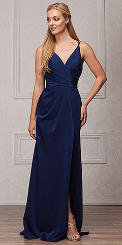 Double Spaghetti Straps Overlay Bodice Long Bridesmaid Dress. a366.