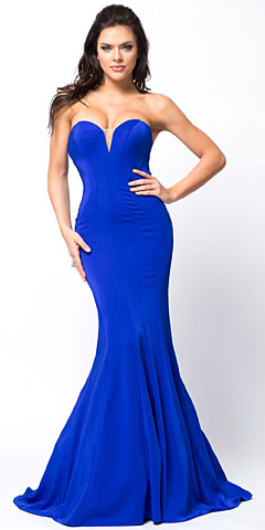 Classic Strapless Mermaid Cut Fit-N-Flare Long Prom Dress. a367.