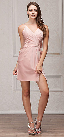 V-Neck Spaghetti Straps Shirred Short Graduation Dress. a368.