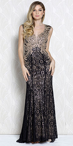 Gold Lace Accent Artistic Pattern Long Prom Pageant Dress. a369.