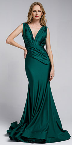 Satin Fitted V Neck Prom Dress. a370.