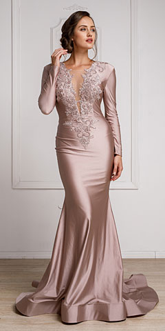 Fitted & Embellished Full Sleeve Prom Gown. a372.