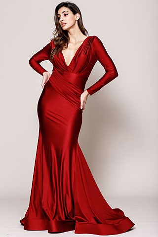 V Neck Rouched Formal Dress with Long Sleeves. a381.
