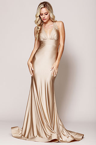 Halter Neck Empire Charmeuse Pageant Dress. a384.
