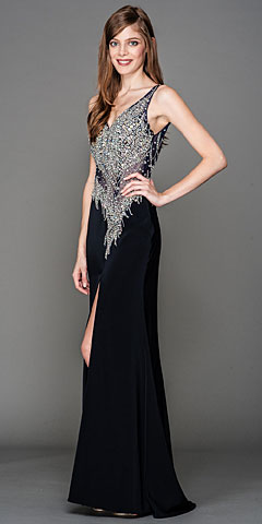 V-Neck Mesh Bejeweled Bodice Long Pageant Dress. a443.