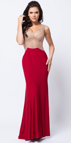 V-Neck Embellished Bodice Sheer Back Long Prom Dress. a448.