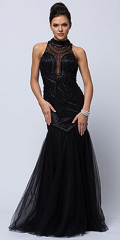 High Neck Beaded Bodice Mermaid Style Mesh Long Prom Dress. a449.