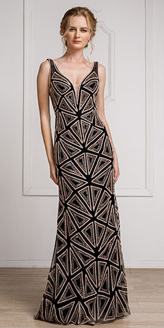 Decollete Neckline Geometric Prom Gown. a461.