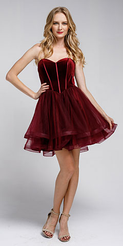 Strapless Short Babydoll Prom Dress. a464s.