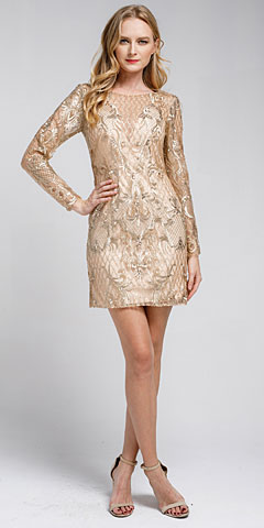 Embellished Full Sleeve Prom Dress. a465s.