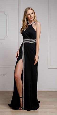 Halter Neck Pageant Gown with Front Slit. a470.
