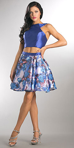 Solid Crop Top Short Floral Print Skirt Homecoming Dress. a563.