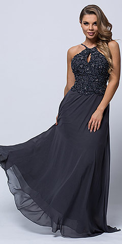 Beaded Halter Top Spaghetti Straps Long Prom Dress. a566.