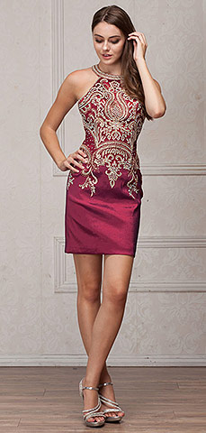 Round Band Neck Embellished Bodice Fitted Short Party Dress. a567.