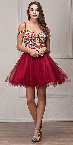 Spaghetti Straps Cold-shoulder Beaded Tulle short Party Dress. a568.