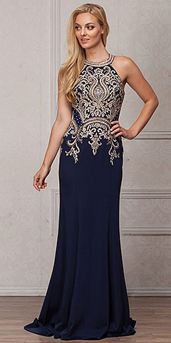 Round Collar Neck Embellished Bodice Long Prom Pageant Dress. a569.
