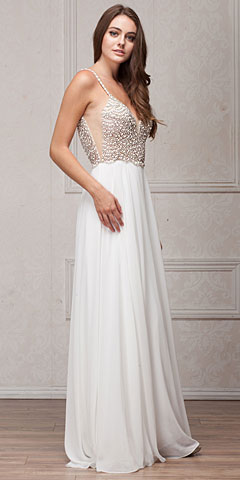 Bejeweled Bodice V-Neck Spaghetti Straps Formal Prom Dress. a570.