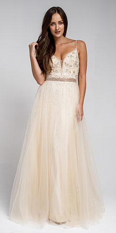 Beaded Spaghetti Prom Gown with Tulle Skirt. a576.