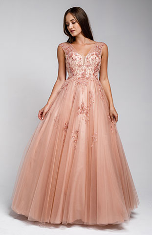 Beaded Embellished V Neck Homecoming Ball Gown. a577.