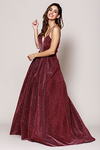 Glitter Prom Ball Gown with Corset Back. a595.