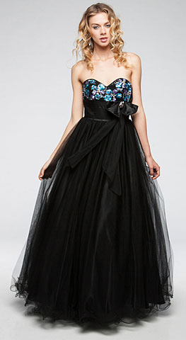 Strapless Sweetheart Neck Long Formal Prom Gown in Mesh. a601.